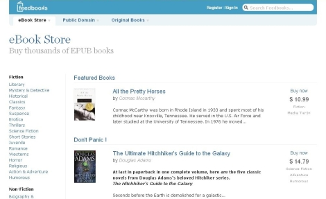 Feedbooks eBookstore Opens eBookstore