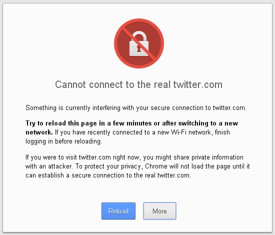 Google Chrome, Windows XP, Twitter SSL Certificate Problem