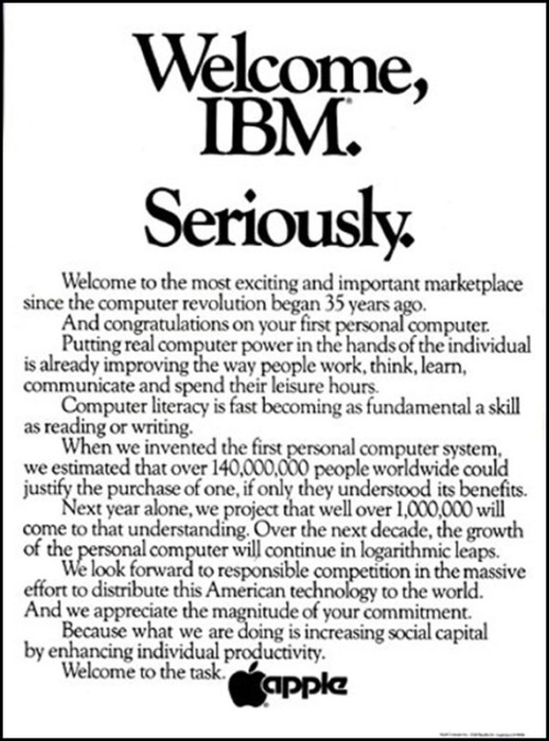 Welcome IBM. seriously ad