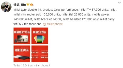 XiaomiLinBinBin1111SalesFinalWeibo