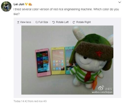 XiaomiRedRiceLeiJunColorWeibo