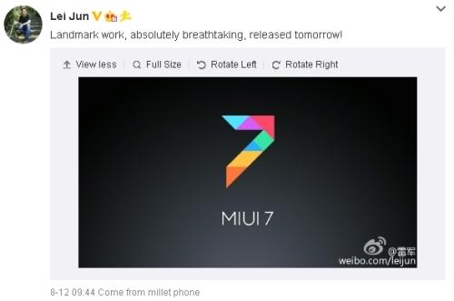 XiaomiLeiJunMIUI7Weibo