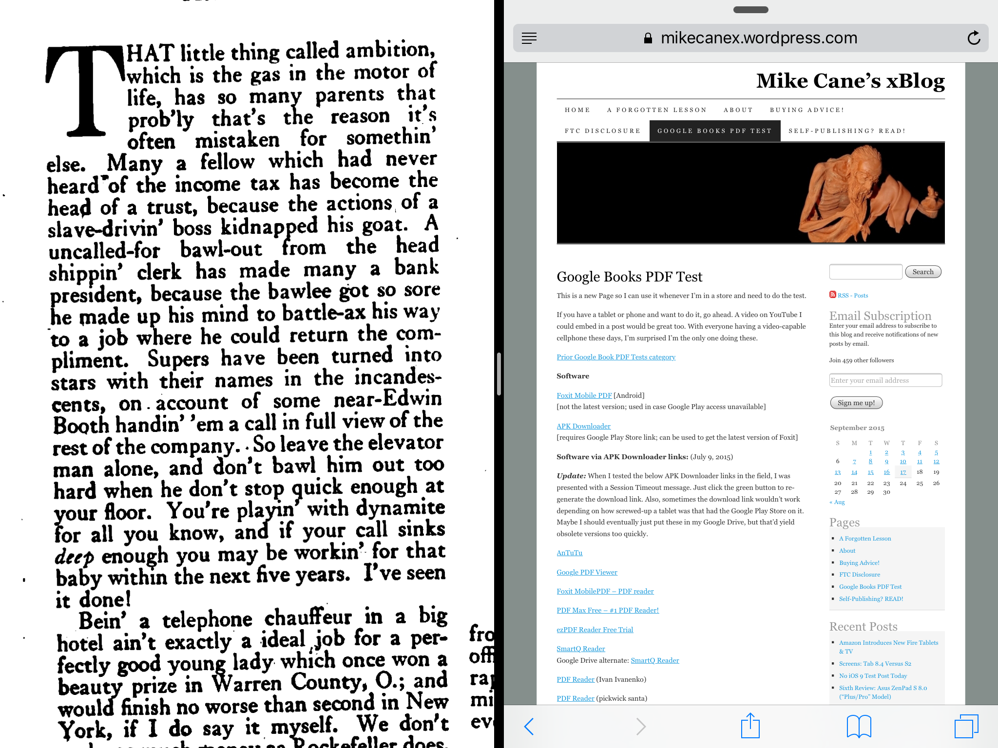 Google Books PDF Test: iPad Air 2 With iOS 9 | Mike Cane's xBlog